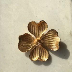 It's dogwood time! Large gold dogwood pin pendant